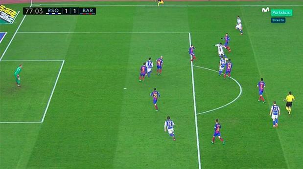 Real Sociedad-Barcelona:  Grave error de Gil Manzano al anular por inexistente fuera de juego un gol de Juanmi