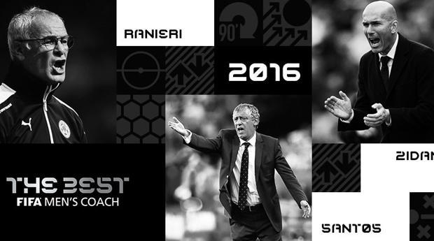 Zidane, Ranieri y Santos, finalistas al premio The Best a mejor entrenador