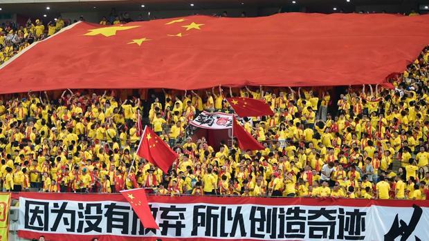 Aficionados chinos, en un partido de su selección