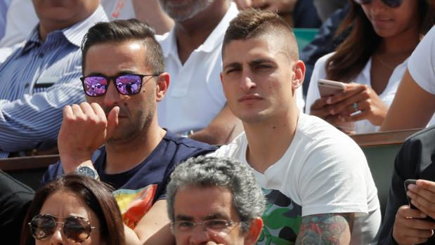 Marco Verratti esta semana pasada viendo un partido de tenis en Roland Garros
