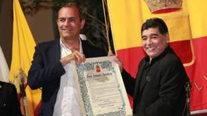 Maradona, durante el acto