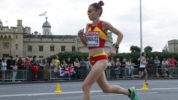 La española Paula González, durante el maratón en el Mundial de Londres