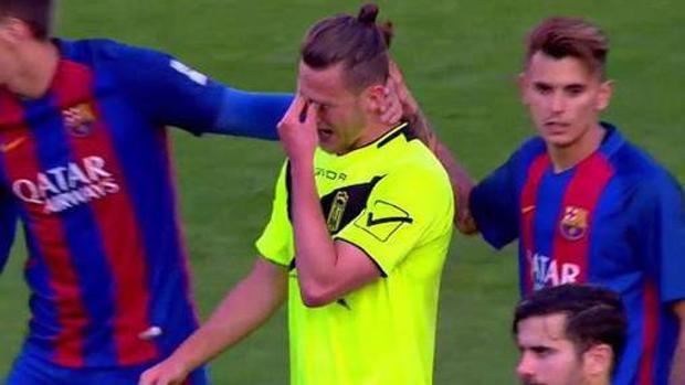 Las lágrimas de Maiki Fernández, uno de los jugadores que fue detenido por el caso Eldense