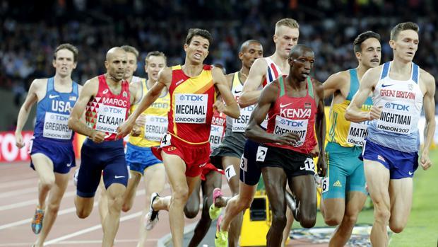 El español Abel Mechaal durante la prueba de 1500 metros