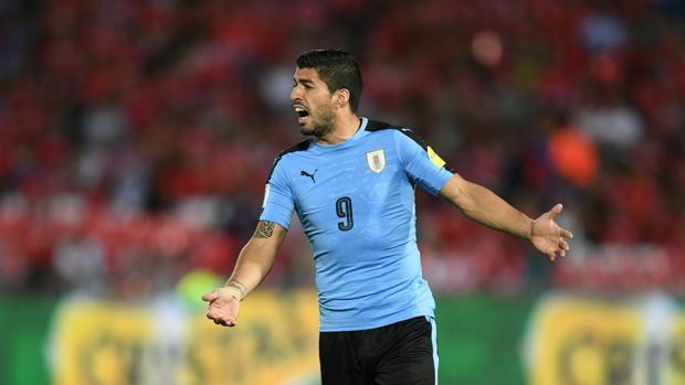 Luis Suárez con la selección uruguaya