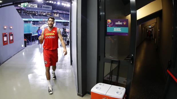 Álex Abrines, tras un entrenamiento de la selección española