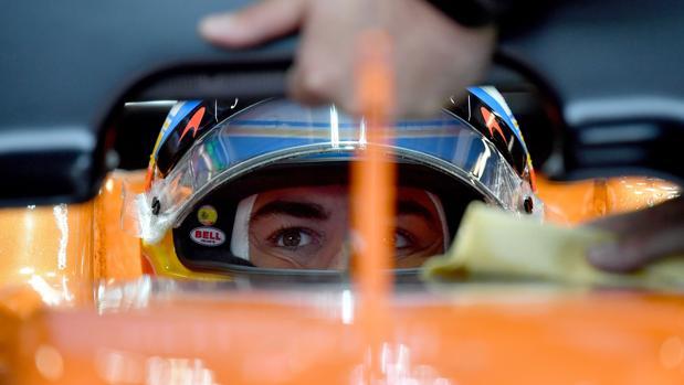 Fernando Alonso, durante la clasificación de Monza