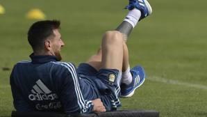 Leo Messi durante un entrenamiento con la selección argentina