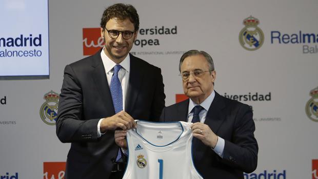 Florentino Pérez durante la presentación del nuevo patrocinador del equipo de baloncesto