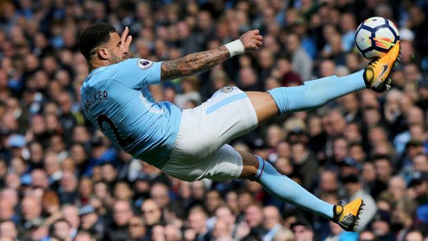 Walker, durante el partido del Manchester City-Liverpool