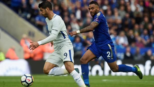 Morata durante el partido frente al Leicester