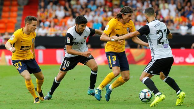 El Atlético de Madrid durante un partido de Liga