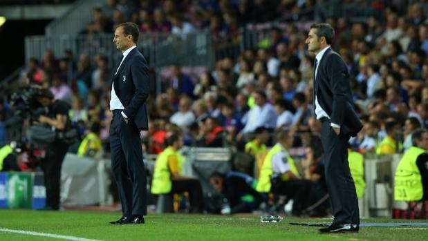 Ernesto Valverde y Massimiliano Allegrii durante el partido