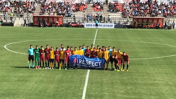 Jugadores de Roma y Atlético