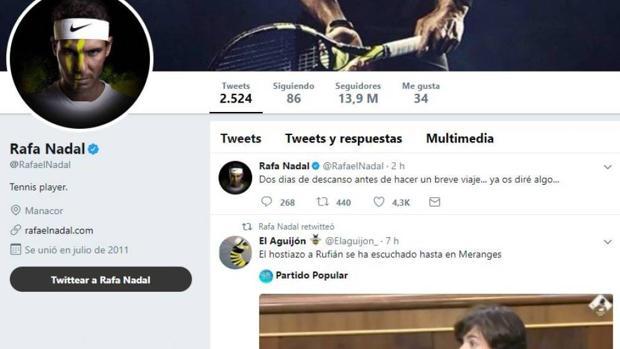 «Hackean» la cuenta de Twitter de Rafa Nadal