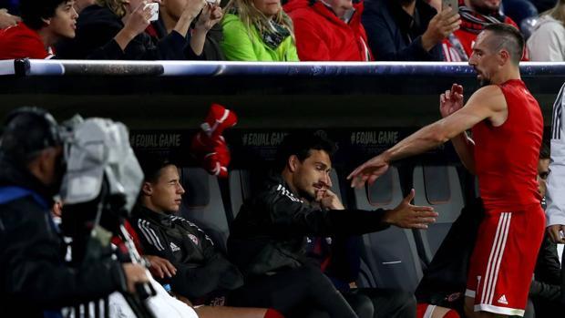 Ribery, al llegar al banquillo