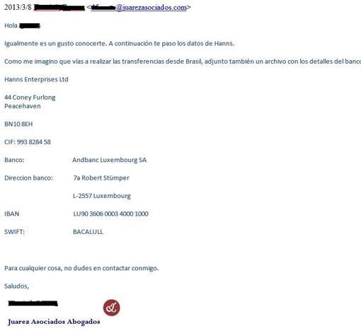 Mail en el que los abogados de Messi dan instrucciones para pagar a nombre de una sociedfad pantalla