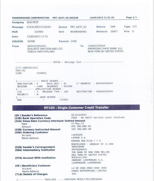 Reporte bancario de una transferencia de 300.000 dólares de la fundación a Luxemburgo