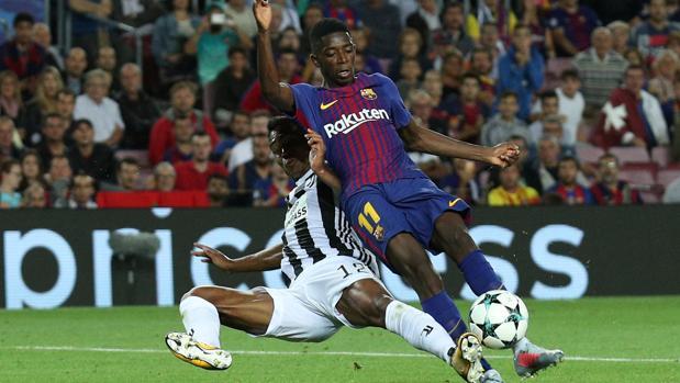 Ousmane Dembélé durante el partido que el Barcelona jugó ante la Juvetus