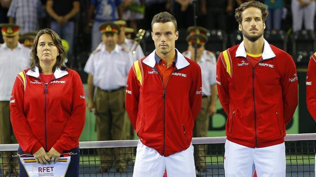 Durante una eliminatoria ante Rumanía de Copa Davis