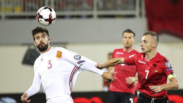 Imagen del Albania-España de la fase de clasificación