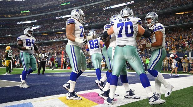 Los Dallas Cowboys, en su partido de ayer