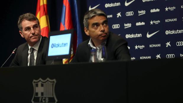 Albert Soler y Robert Fernández durante una rueda de prensa del Barcelona