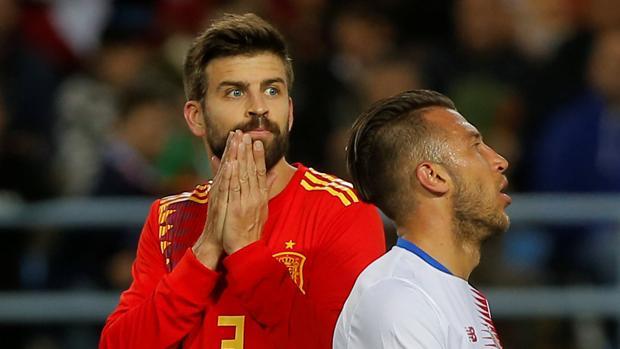 Gerard Piqué, durante el España-Costa Rica