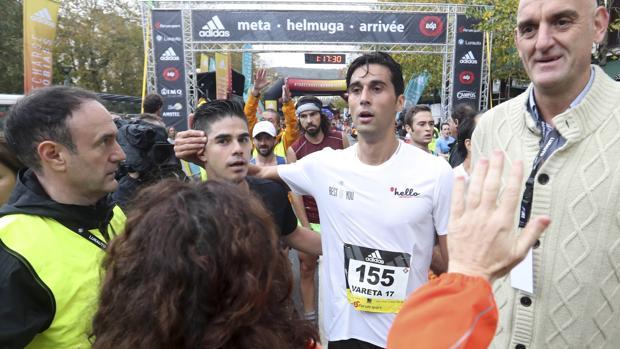 Álvaro Arbeloa, a su llegada a la meta en la Behobia-San Sebastián