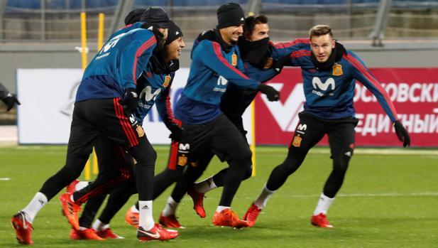 España, en el entrenamiento del lunes en San Petersburgo