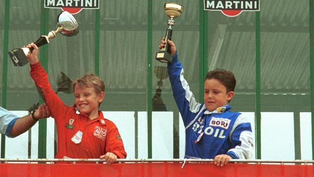 Antonio García, a la izquierda, y Fernando Alonso, derecha, en 1989