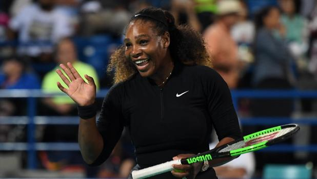 Serena Williams, durante la exhibición de Abu Dabi