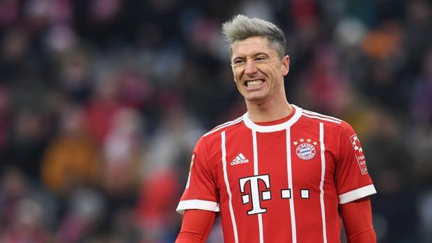 Robert Lewandowski en un partido con el Bayern de Múnich