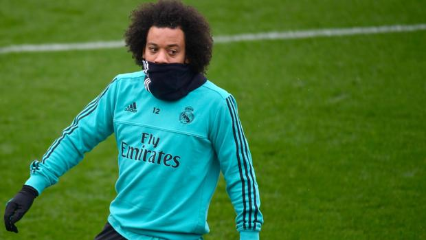 Marcelo, durante el entrenamiento de ayer