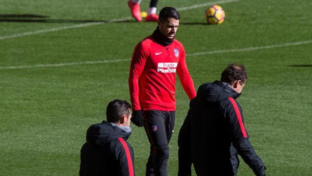 Vitolo, en el entrenamiento del Atlético de este sábado