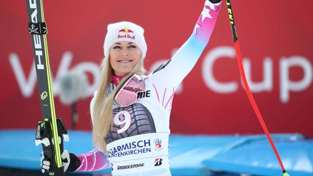 Lindsey Vonn, tras su victoria en el descenso de Garmisch-Partenkirchen