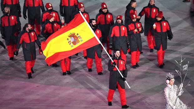 La delegación española en los Juegos, durante el desfile de inauguración