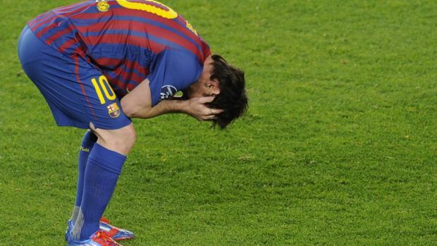 Leo Messi al término del partido contra el Chelsea en 2012