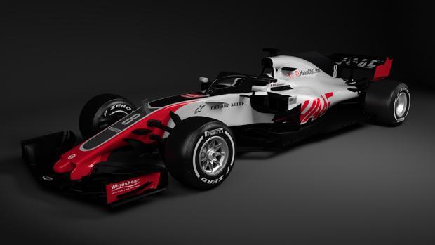 Imagen digital del Haas VF18, el nuevo monoplaza del equipo estadounidense