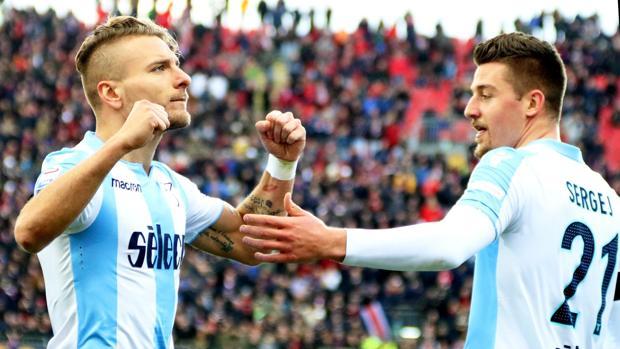 Ciro Immobile celebra el gol que supuso el empate de su equipo