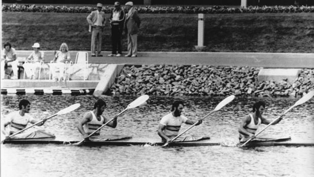 El equipo español de K4 1.000, durante los Juegos de Montreal 76