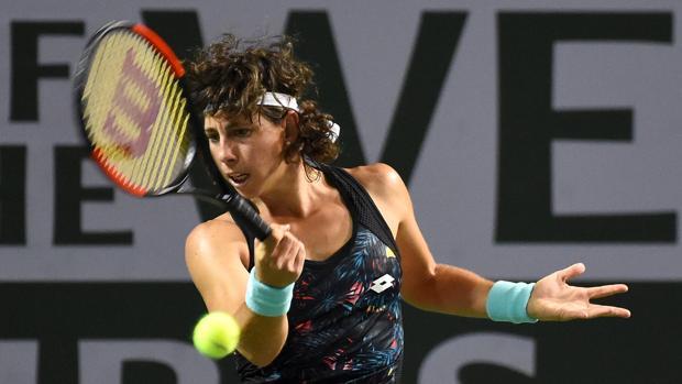 Carla Suárez durante su partido en Indian Wells