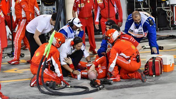 Francesco Cigarini, mecánico de Ferrari, tras ser atropellado por Raikkonen