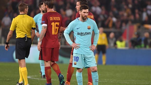 Messi, desolado tras caer eliminado en el Olímpico de Roma