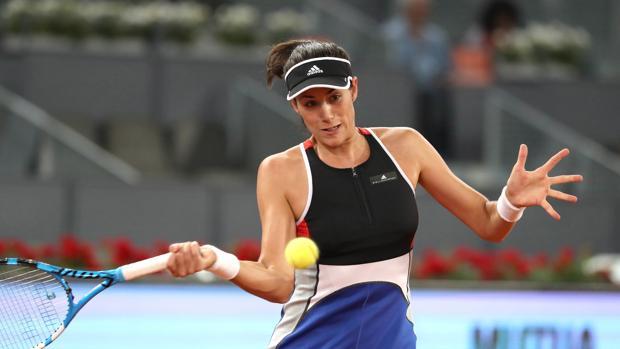 La tenista Garbiñe Muguruza en su encuentro de segunda ronda del Mutua Madrid Open