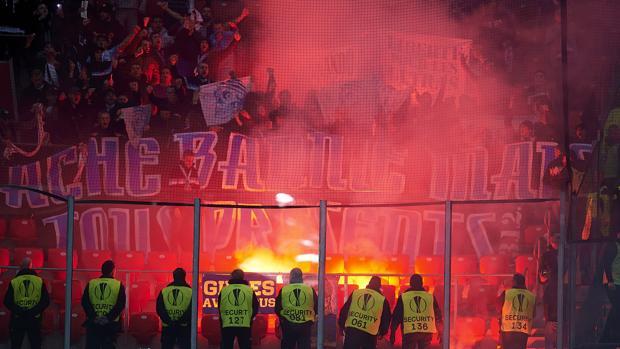 Los ultras del Marsella en su visita a San Mamés el pasado mes de marzo