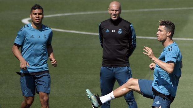 Casemiro, en el entrenamiento del martes del Real Madrid