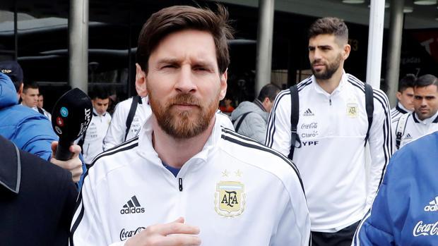 Leo Messi en la concentración de Argentina