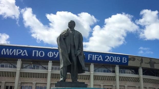 El estadio Luzhniki de Moscú en los preparativos para el Mundial de 2018