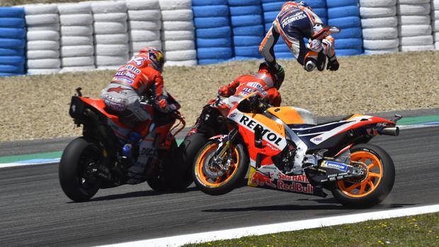 El accidente de Lorenzo, Pedrosa y Dovizioso